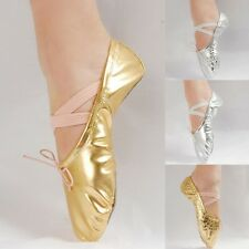 Adults Girls Bling Ballet Dance Shoes Gymnastics Gold/Silver Sequins Leather S73