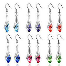 1 Pair New Elegant Women's Crystal Rhinestone Dangle Stud Earrings Eardrop Chain