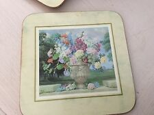 Vintage Cloverleaf Tea Coasters x 6 Boxed. Flowers In A Vase.