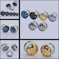 1PC Tunnels Plugs Stainless Steel Carving Ear Expander Body Piercing New GoGo-UK