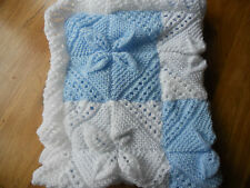 hand knit blue and white baby blanket