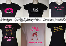 Personalised Hen Night T-Shirts 6 Designs Printed Glitter/Sparkle Hen T-Shirts