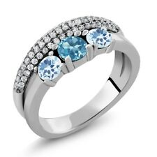 1.87 Ct Round Swiss Blue Topaz Sky Blue Topaz 925 Sterling Silver Ring