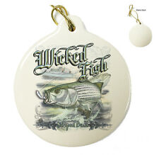 Wicked Fish - Stripped Bass -Christmas Xmas Tree Porcelain Ornaments