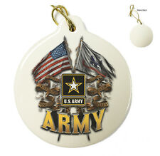 US Army- Double Flag Eagle -Christmas Xmas Tree Porcelain Ornaments