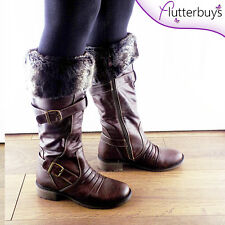 Womens faux FUR LINED RIDING BOOTS knee high low heel brown leather Ladies flats