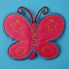 Butterfly Punk Iron on Patch Embroidered Applique Sew Diy Pink Biker Rock Cute