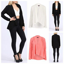 NEW WOMENS LADIES CASUAL SOFT JERSEY PANELLED LONG SLEEVE BLAZER SMART JACKET