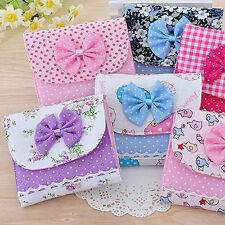 Bowknot Sanitary Towel Napkin Pad Purse Holder Case Bag Girl Organizer Wondrous