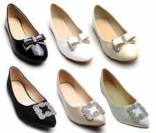 New Womens Ballerina Ballet Dolly Pumps Ladies Flat Loafers Work office Shoes