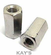 A2 Stainless Steel Threaded Rod/Bar/Stud Hexagon Connector M5,6,8,10,12,16,20mm