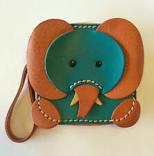 Genuine Leather Elephant Shape Square purse handmade in Thailand