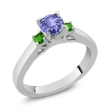 0.60 Ct Round Blue Tanzanite Green Simulated Tsavorite 925 Sterling Silver Ring