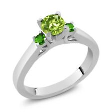 0.74 Ct Round Green Peridot and Simulated Tsavorite 925 Sterling Silver Ring