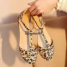 HOT SALE Summer Fashion Women's Sandals Shoes Leopard Flat Heel US 6,7,8 OO55