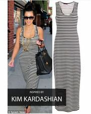 NEW WOMENS LADIES CELEBRITY LOOK RACER BACK CASUAL SLEEVELESS STRIPED MAXI DRESS