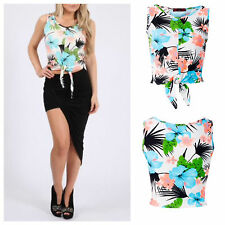 NEW WOMENS LADIES CASUAL KNOT FRONT BRIGHT FLORAL PRINT CROP TOP SEXY LOOK VEST