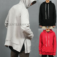 Men's Fashion Street Style Bit Pocket Side Zipper Hem Hooded Sweatshirt, GENTLER