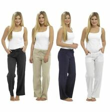 ladies womens linen trousers pants casual bottoms loose fit size 10 12 14 16 18