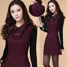 Autumn Winter Elegant Womens OL Woolen Plaids Gird Long Sleeve Slim Mini Dress