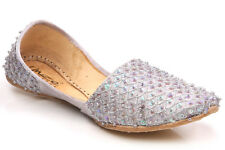 UNZE GUIN' KIDS LEATHER TRADITIONAL INDIAN KHUSSA PUMPS SIZE UK 1 - 13 SILVER