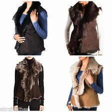 Ladies Luxury Suede Sheepskin Fur Sleeveless Body-Warmer Winter Gilet Waistcoat