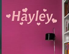 Personalised Name HEART hearts Wall Art Boys Girls Room Childrens Kids Sticker 2