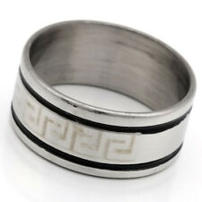 Chic White 10 mm Wide Stainless Steel Men's/Women's Ring Size 7 8 9 10 11 12