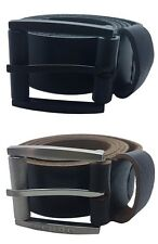"Mens Black Brown 1.5"" Real Full Grain Genuine Leather Belts Metal Buckles 26-60"""