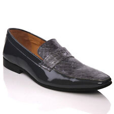 UNZE NEW MENS 'SEOL'   LEATHER FASHION DRESS SHOES SIZE 6-13UK GREY