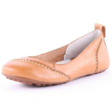 Hush Puppies Janessa Womens Leather Tan Flats