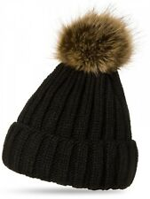 CASPAR Ladies Cap Beanie Hat With Fur Pompom Wool Knitted Pom-pom Hat black