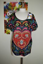 DESIGUAL Summer  loose BLACK RED heart Cap Sleeve TOP NEPTUNO 61T24F2 Size S M L