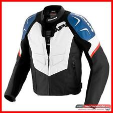 Spidi Leather Motorcycle Jacket TRK Evo White Blue Red Sport Protections