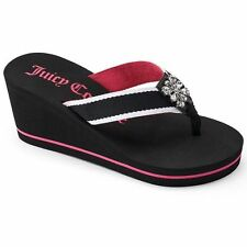 Juicy Couture Wedge Rhinestone Bling Black Pink Flip Flops Sandals, L 9-10 or XL
