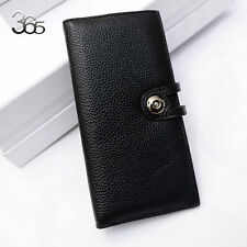 Women lady Real Leather Clutch Snap Credit Card Cash Long Wallet Clutch Case