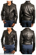 Black Ladies Brando Retro Biker Style Leather Jacket With Stud Button And Belts