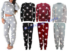 Women Ladies Star Print Swaetshirt Jogging Bottom Loungewear Tracksuit Set 8-14