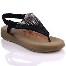 UNZE WOMENS 'TITLY' DECORATED WEDGE THONG SANDALS UK SIZE 3-8 BLACK