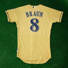 """RYAN BRAUN Milwaukee Brewers """"CERVEROS"""" AUTHENTIC ON-FIELD Gold Cool Base Jersey"""