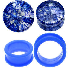 2 PAIRS-BLUE SHATTERED QUARTZ & BLUE SILICONE TUNNELS Ear Plugs-Ear Gauges