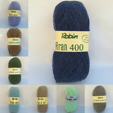 Aran Wool by Robin Aran 400g Knitting Yarn, Acrylic or Wool Mix 75-25
