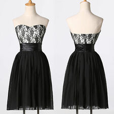 GK Short Black Strapless Lace Chiffon Ball Gown Formal  Evening Prom Party Dress