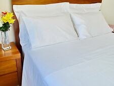 Double Bed Sheet Set 1500TC/10cm2 Pure Cotton Fitted Flat Pcs White/Ivory