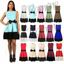 New Womens Ladies Sleeveless Tie Bow Detail Contrast Pleated Flared Skater Dress