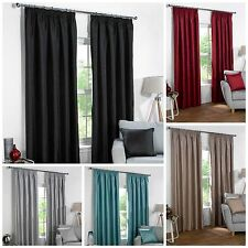 Blackout Lined Pair of Faux Silk Pencil Pleat Curtains