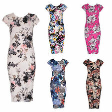 WOMENS LADIES CASUAL CAP SLEEVE TROPICAL FLORAL PRINT STRETCH BODYCON MIDI DRESS