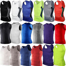 Mens Compression Wear Under Base Layer Sleeveless Shirt Tops Skins Tank Top Vest