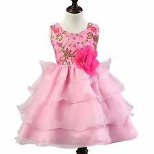 Kids Gorgeous Flowers Sequin Tulle Princess Pink Dresses Bridesmaid Party
