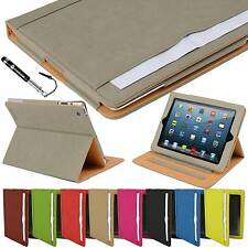Madcase Tan Leather Wallet Smart Flip Case Folder Cover for the Apple iPad 2 3 4